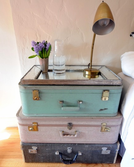 bedside table reusing old suitcases