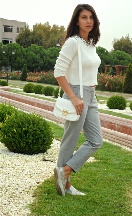 gray, streetstyle , blogger, fashion blogger, look,outfit, necklace, white, trendydolap,
