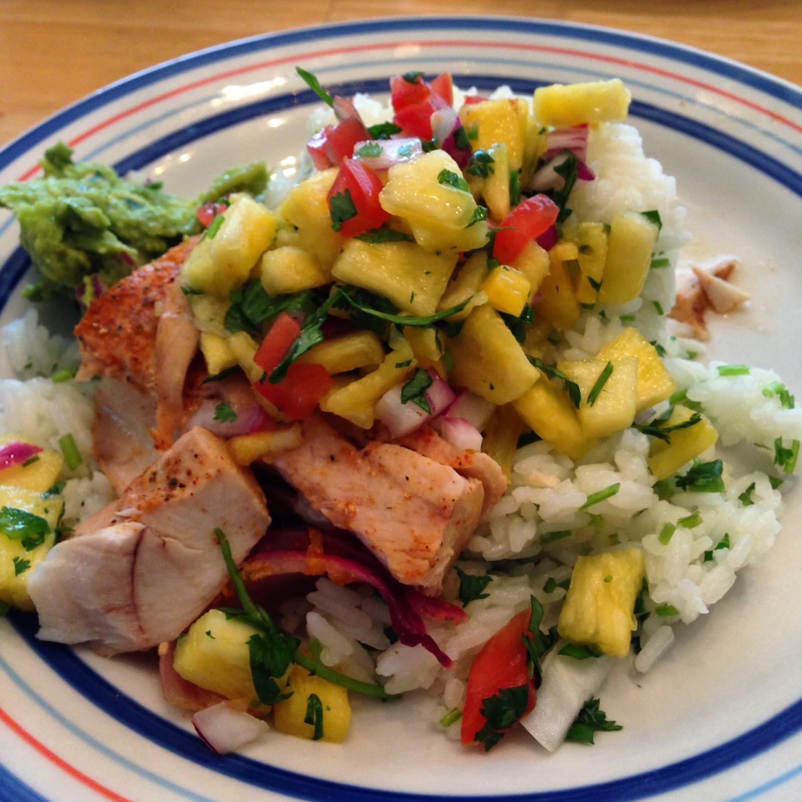 Tropical Mahi Mahi with Pineapple Salsa and Chipotle Lime Rice