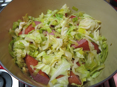 Turkey Sausage with Braised Cabbage and Leeks