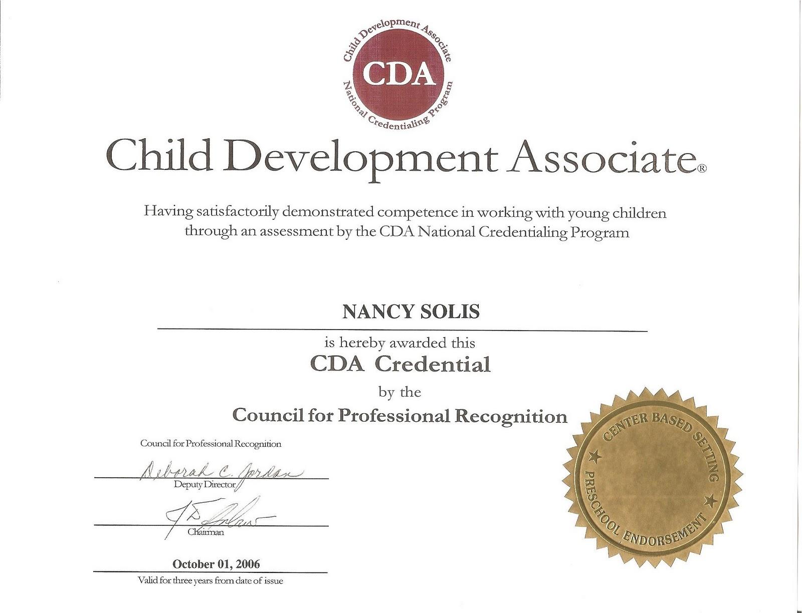 Nancy Solis Certifications