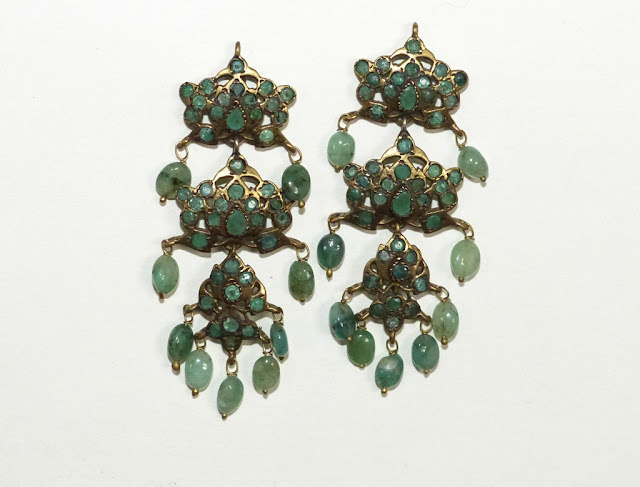 Green onyx candelabra earrings