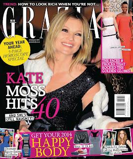 Magazine Cover : Kate Moss Magazine Photoshoot Pics on Grazia Magazine South Africa January 2014 Issue