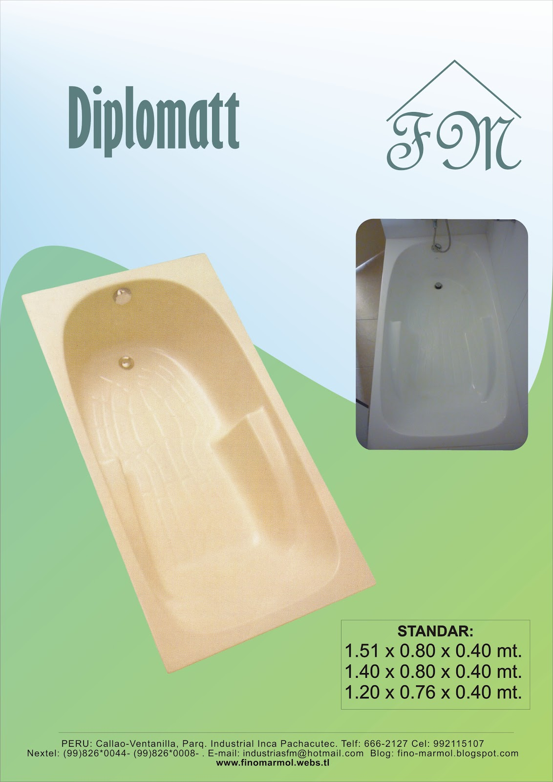 Tinas De Baño Fibra De Vidrio:Tinas de baño FM: Tina de baño diplomatt Fino Marmol