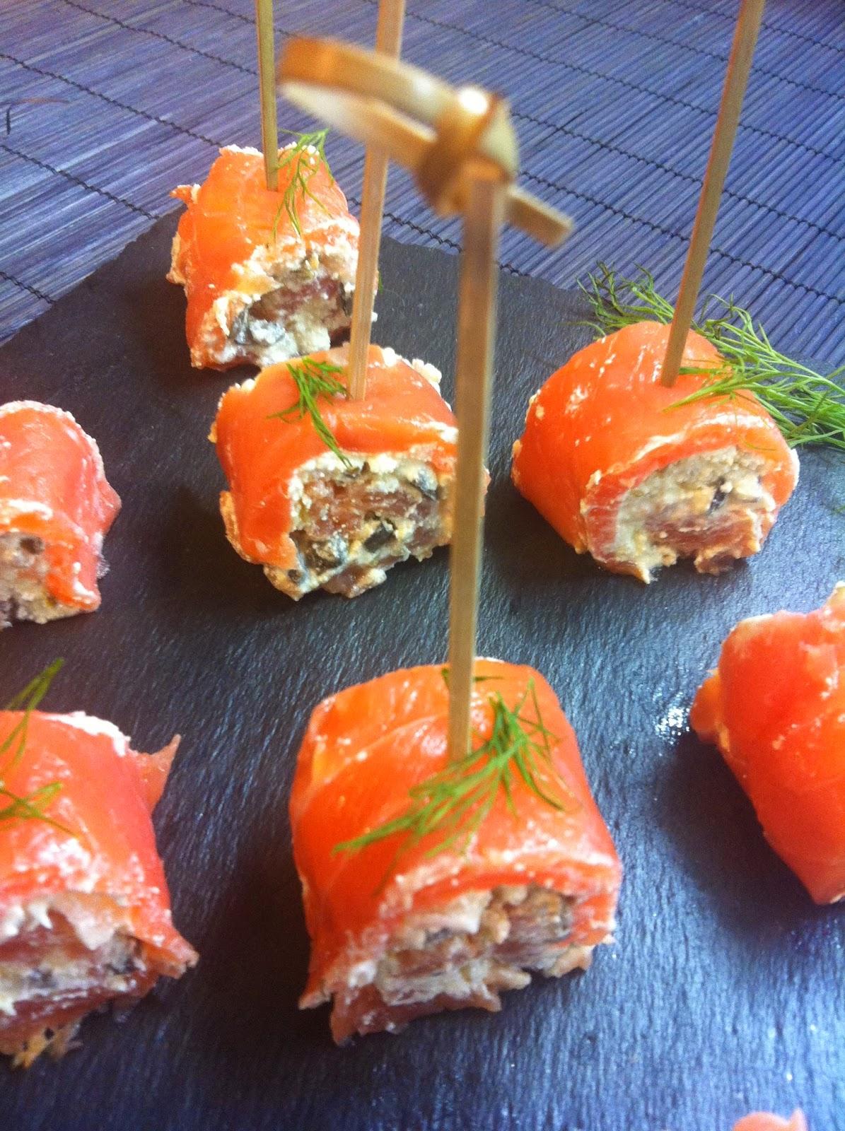 Las recetas de martuka rollitos de salm n ahumado queso for Canape de salmon ahumado