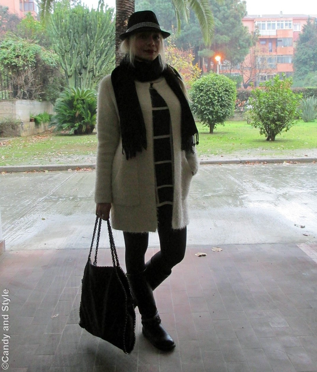 FuzzyJacket+OversizedScarf+PlaidSweater+Leggings+Bikers+TrilbyHats+ChainBag+Braid - Lilli Candy and Style Fashion Blog