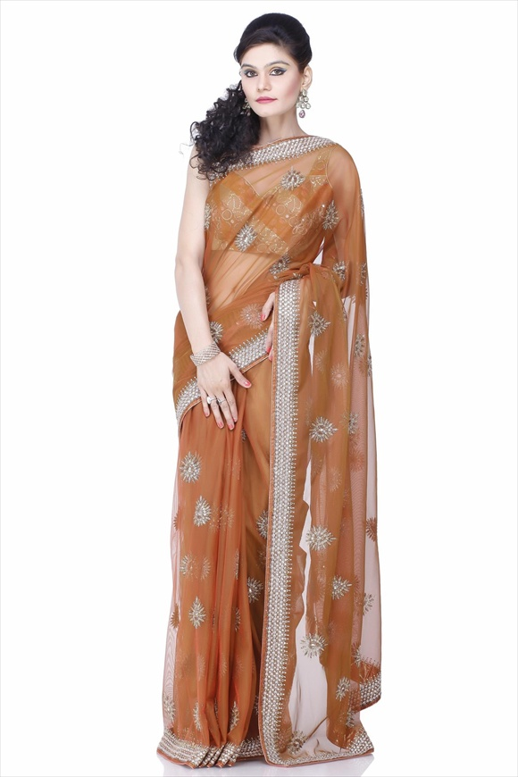 Leather Brown Net Saree