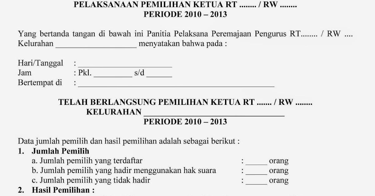 23 Free Download Contoh Surat Berita Acara Pemilihan Rw