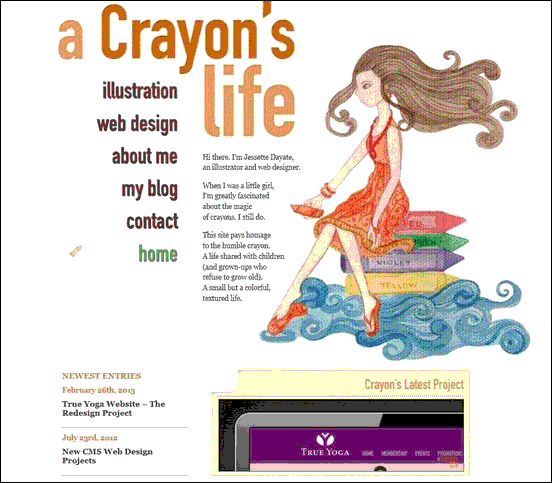 Crayons Life - Website design using drawings and illustration