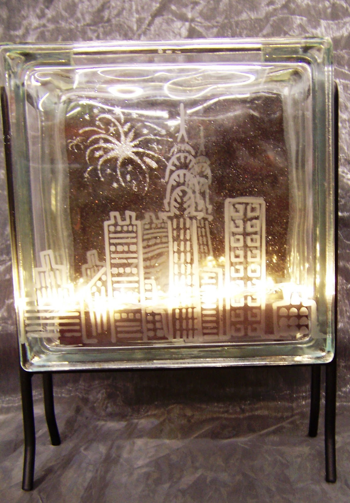 Ideas And Inspirations Cityscape Glass Block With Fire