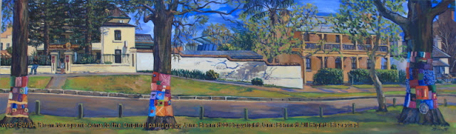 plein air oil painting of a panorama of Thompson's Square, Windsor,with a 'wool-bombimg' protest  painted by artist Jane Bennett