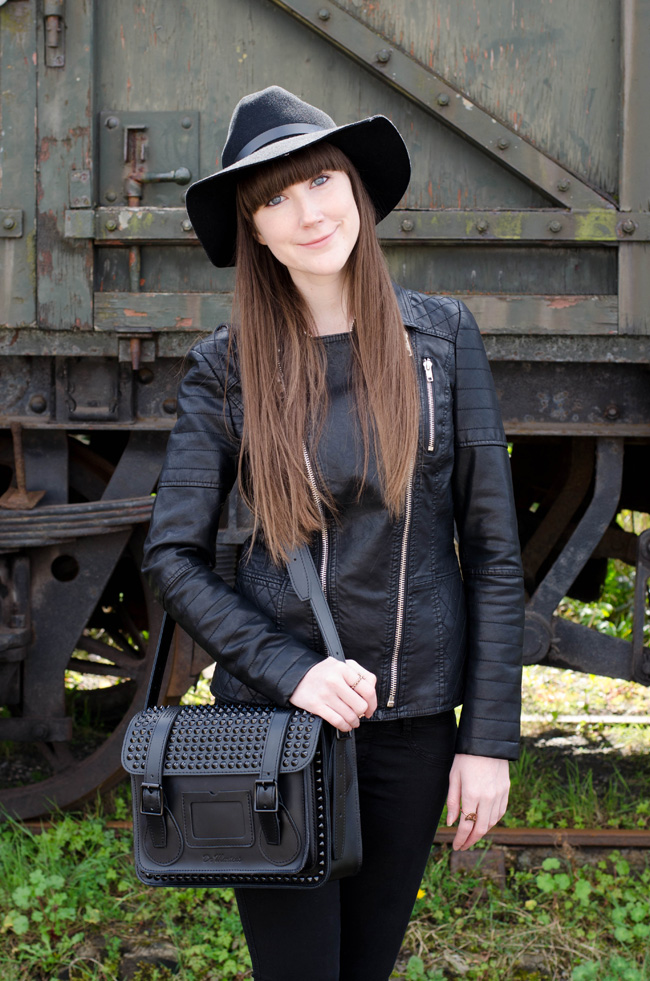 Black Studded Leather Satchel