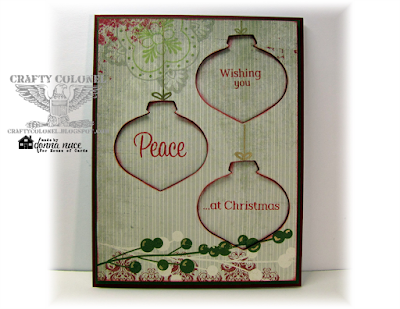 Crafty Colonel Donna Nuce for House of Cards challenge blog, Stamped and Cut Window Technique,  Stampin'Up stamps, Christmas Card.