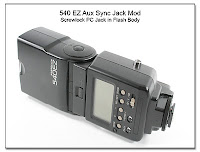Canon 540EZ Aux Sync Jack Mod - Screwlock PC Jack Added to Flash Body