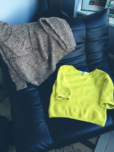Neon Forever21 sweater from Good Will, Oversized sweater from Crossroads