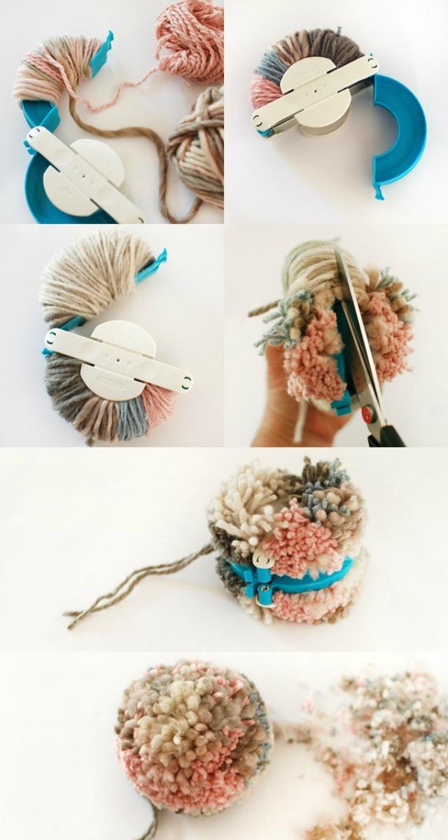 Decoraci n f cil diy tapiz con pompones de lana - Como se hacen los pompones ...