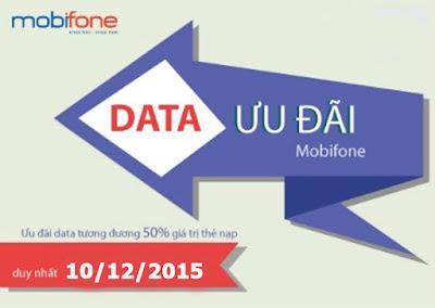 Khuyến mãi 50% data cho Fast Connect Mobifone ngày 10/12/2015