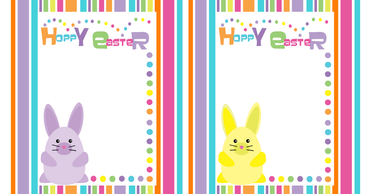 Bunny Stripe Hoppy Easter Cards Free Download Cute
