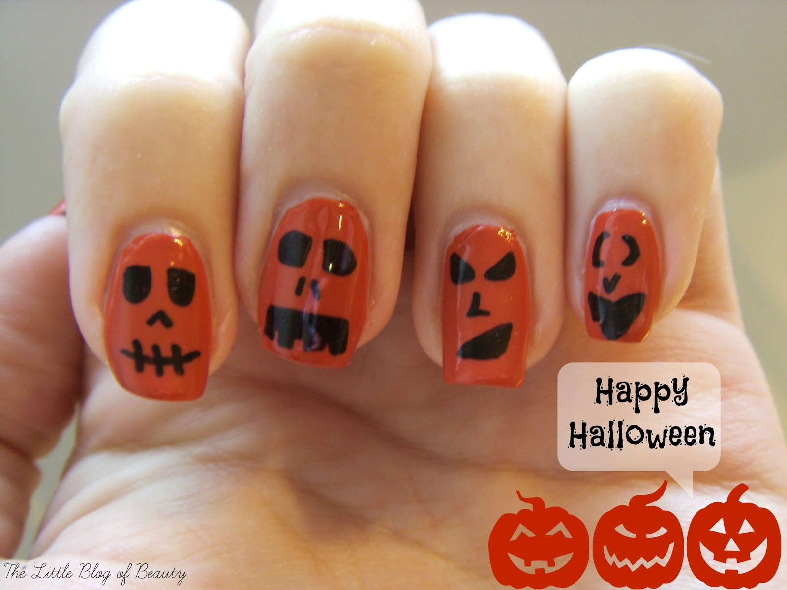 Halloween nail art - The creepy pumpkins