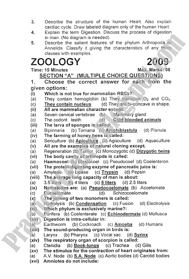 Zoology-2010-five-year-paper-class-XI