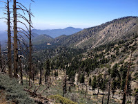 View southwest from Windy Gap Trail toward Crystal Lake Basis and Hawkins Ridge, Angeles National Forest