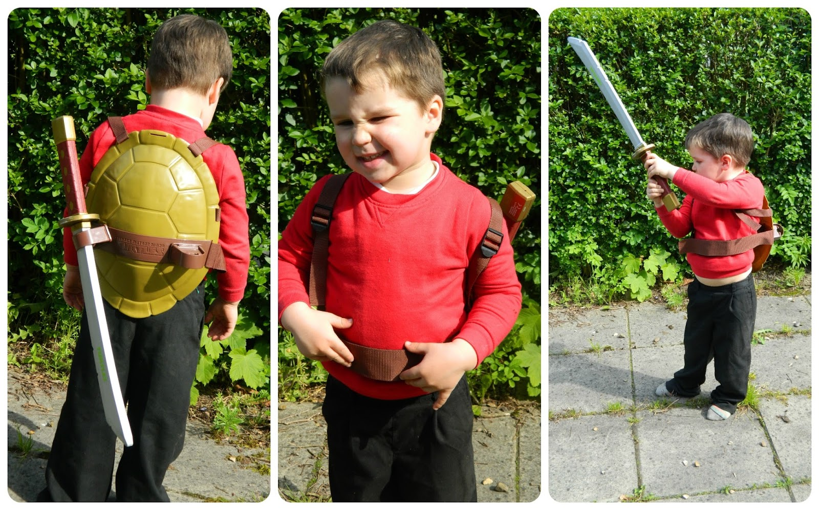 Bud playing with his Teenage Mutant Ninja Turtles Combat Shell and Leonardo Katana Sword