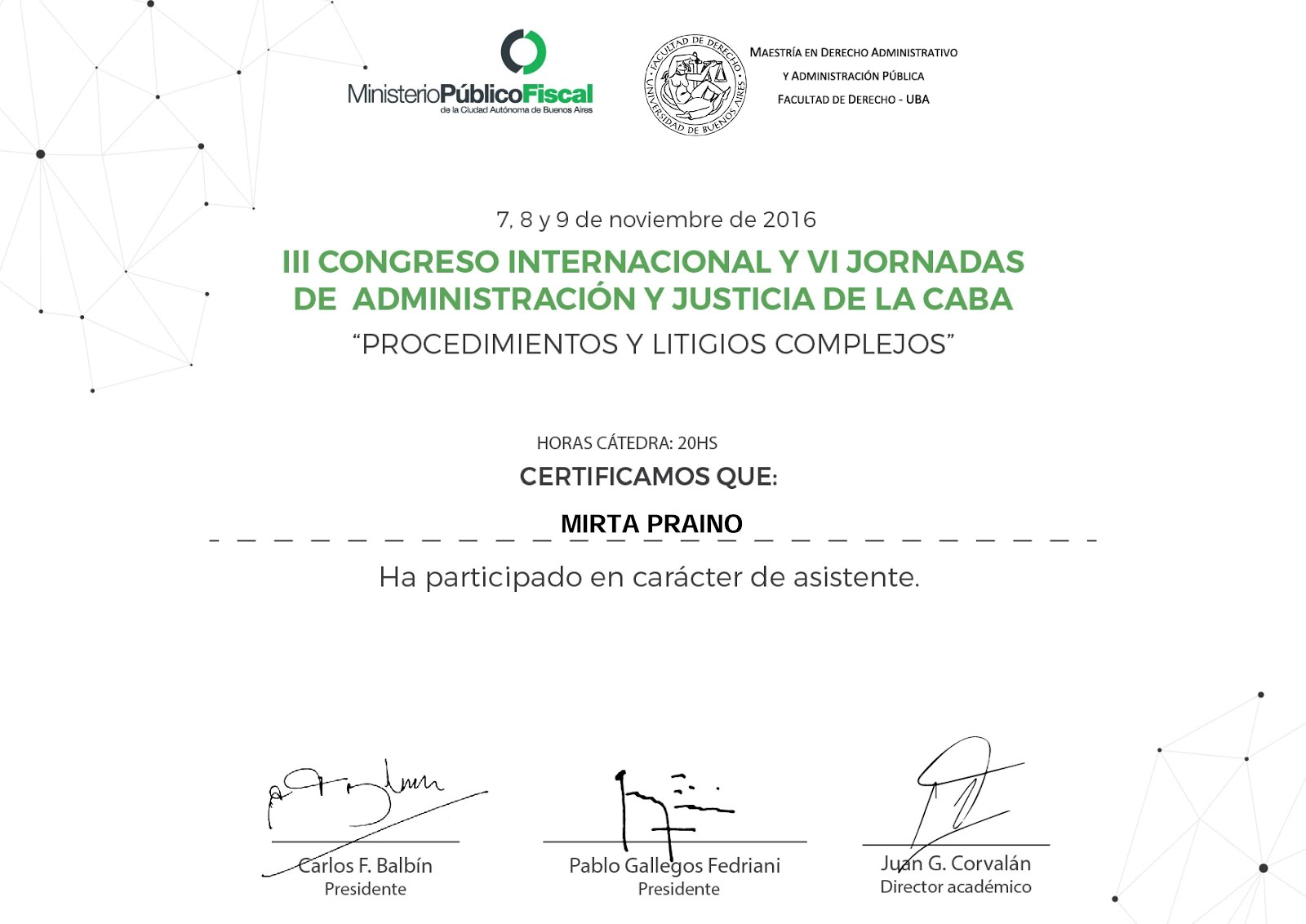 Participamos en III Congreso Internacional y VI Jornadas de Administración y Justicia de la CABA -