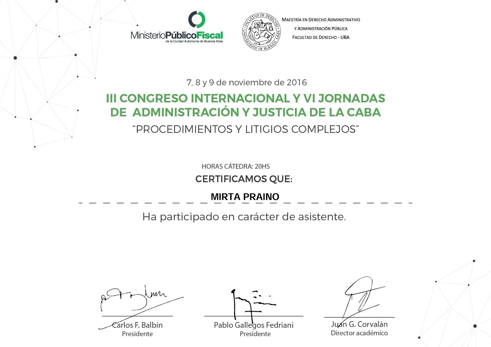 Participamos en III Congreso Internacional y VI Jornadas de Administración y Justicia de la CABA -