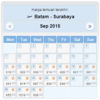 harga tiket batam surabaya september 2015
