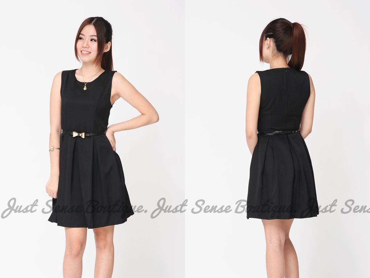 just sense boutique skater dress with ribbon belt jsd101752