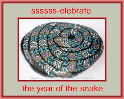 painted rocks, snake, critters