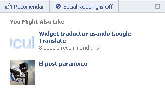 Recommendations Bar para Facebook