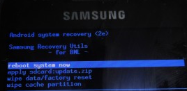 Samsung Galaxy S GT I9000 Recovery Mode Screen Capture