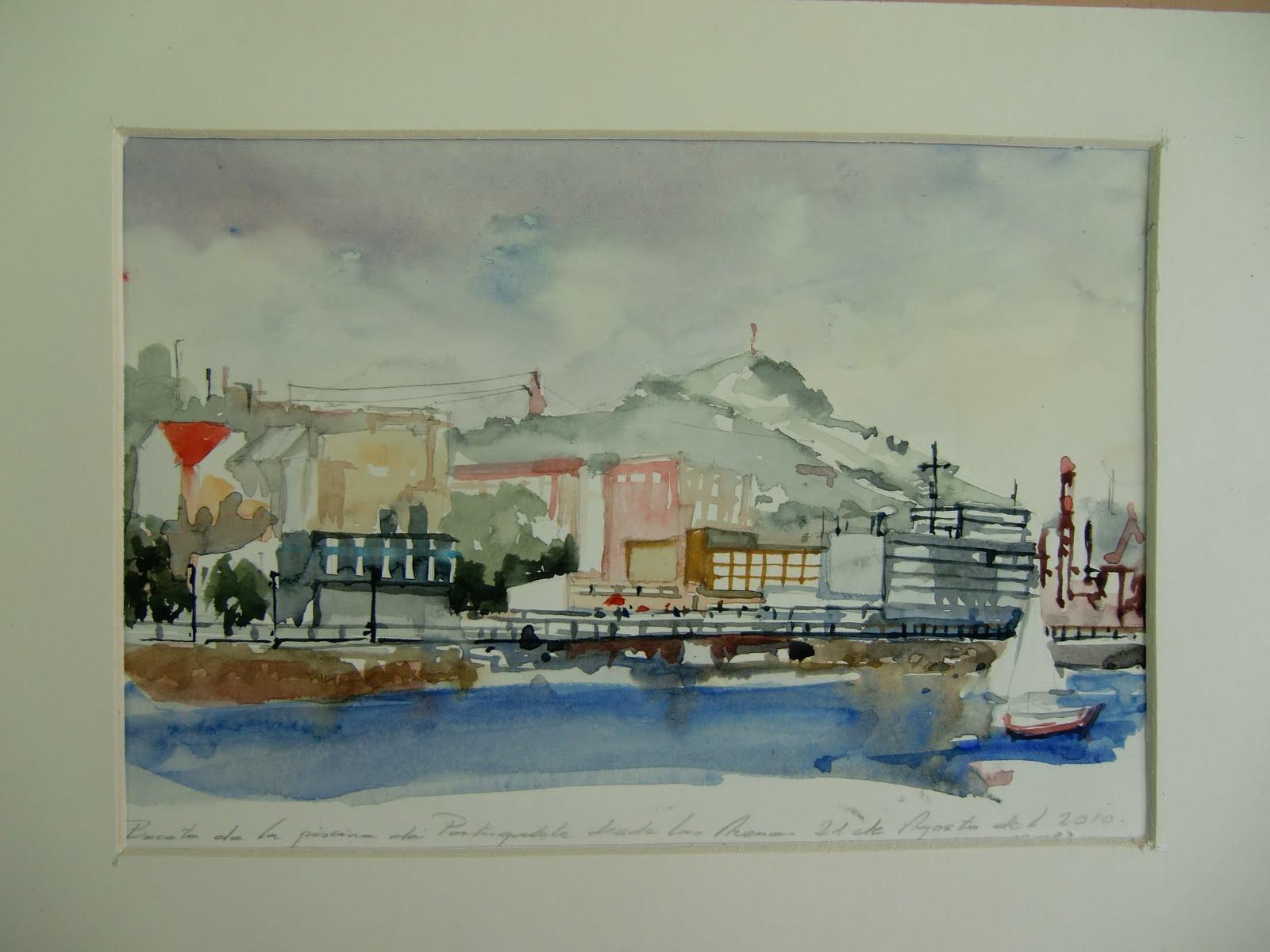 Aguayacuarela bocetos preparatorios del puerto viejo de algorta fuente de otxandiano rivera - Piscinas de portugalete ...