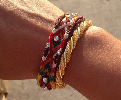 Arm party - gold bracelet and woven bracelet