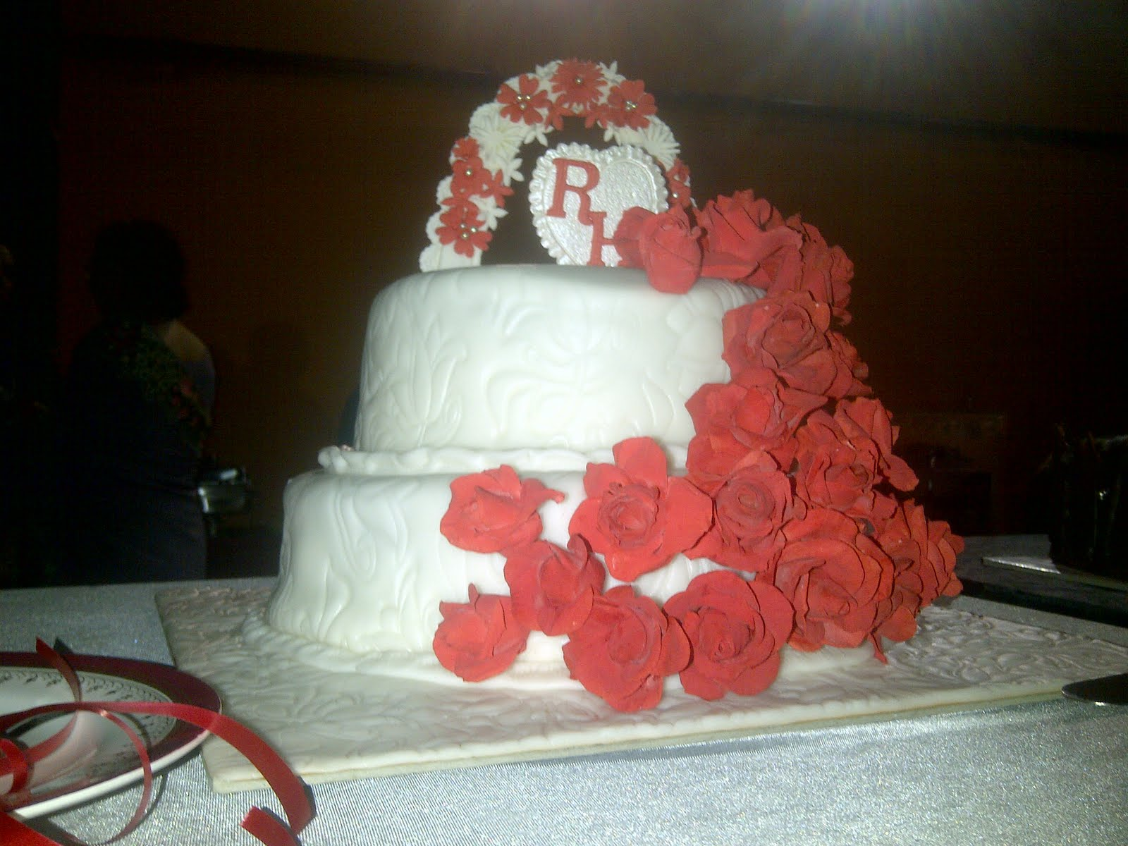 This was for a Ruby Wedding, theme colour was white & redhave