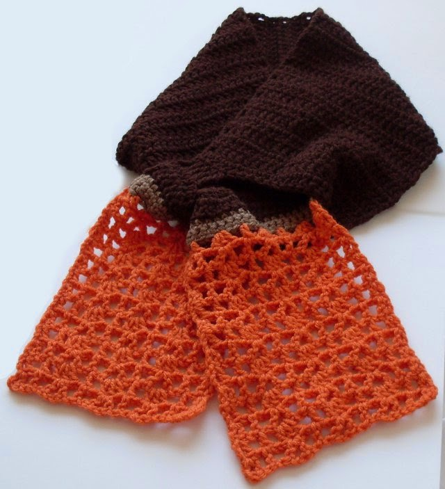 beautiful chocolate and orange keyhole crochet scarf pattern
