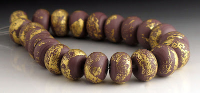 Purple etched and gold leaf beads