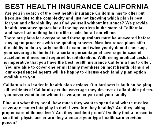 best health insurance california