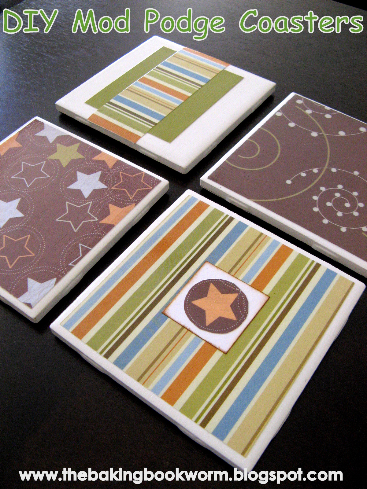 The baking bookworm diy mod podge coasters for Diy using mod podge