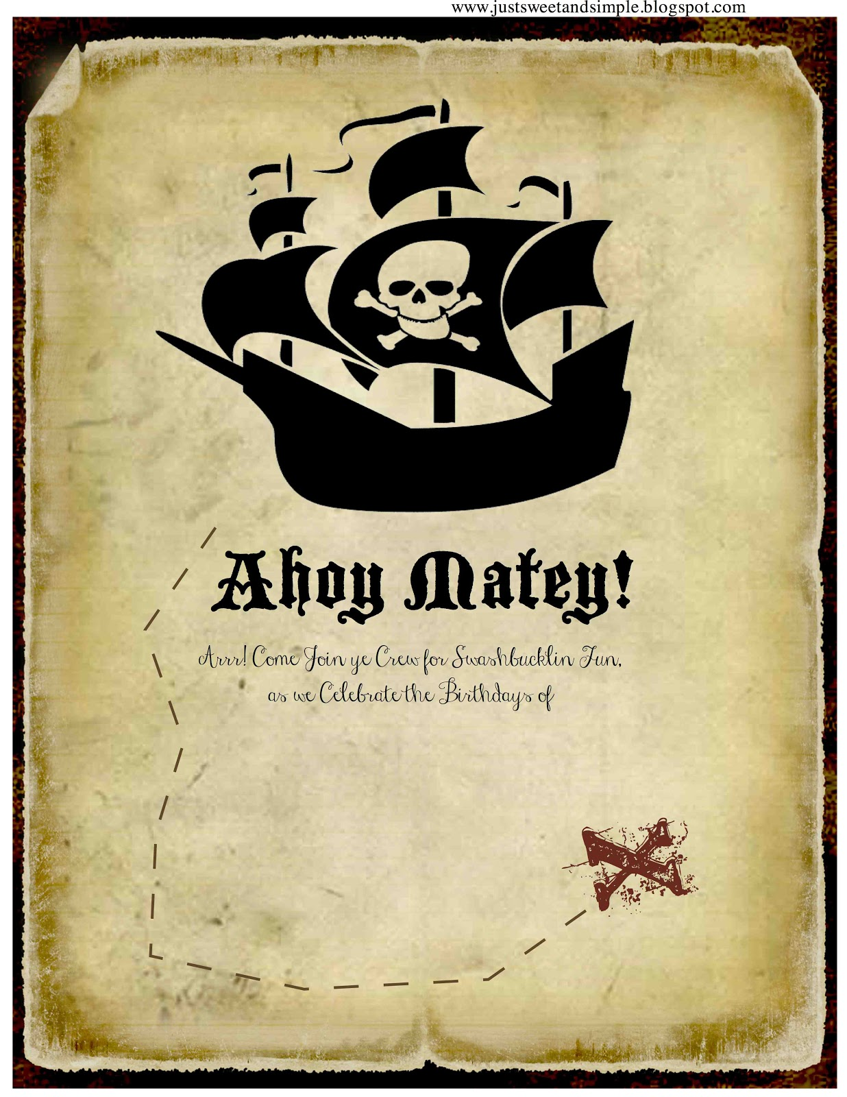 just Sweet and Simple Pirate Party Invitations – Free Pirate Party Invitations