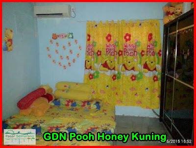 Set Sprei dan Gorden karakter anak Motif Pooh Kuning