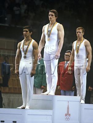 Moscú 1980 - Stoyan Deltchev, Alexander Dityatin y Nikolai Andrianov