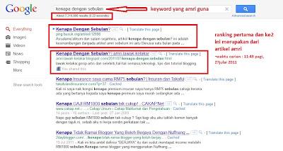 ranking pertama di google