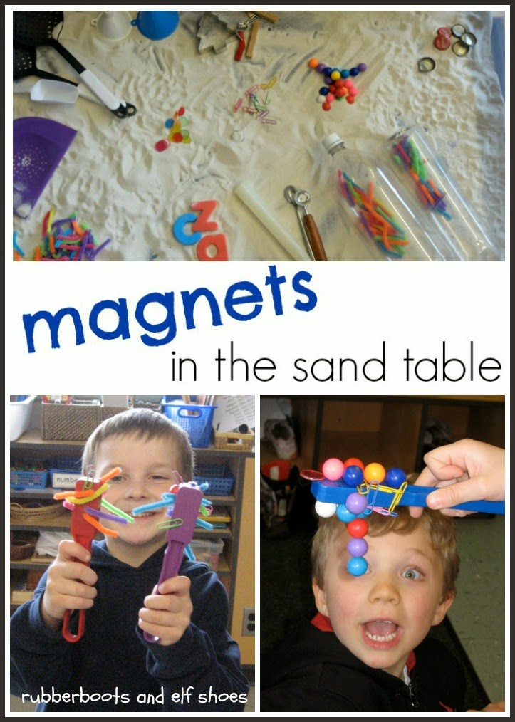 Exploring with Magnets in the Sand Table from Ruber Boots and Elf Shoes