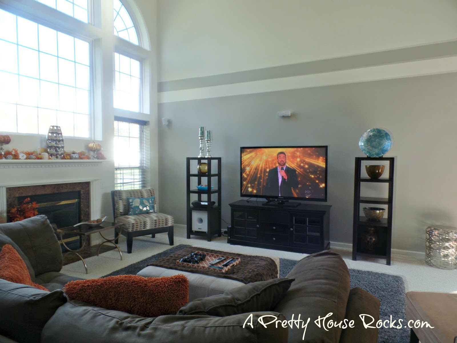 2 Story Family Room Easy Paint Idea No Scaffold Required A Pretty House Rocks Home Decorating Blog,Simple Tv Unit Designs For Living Room