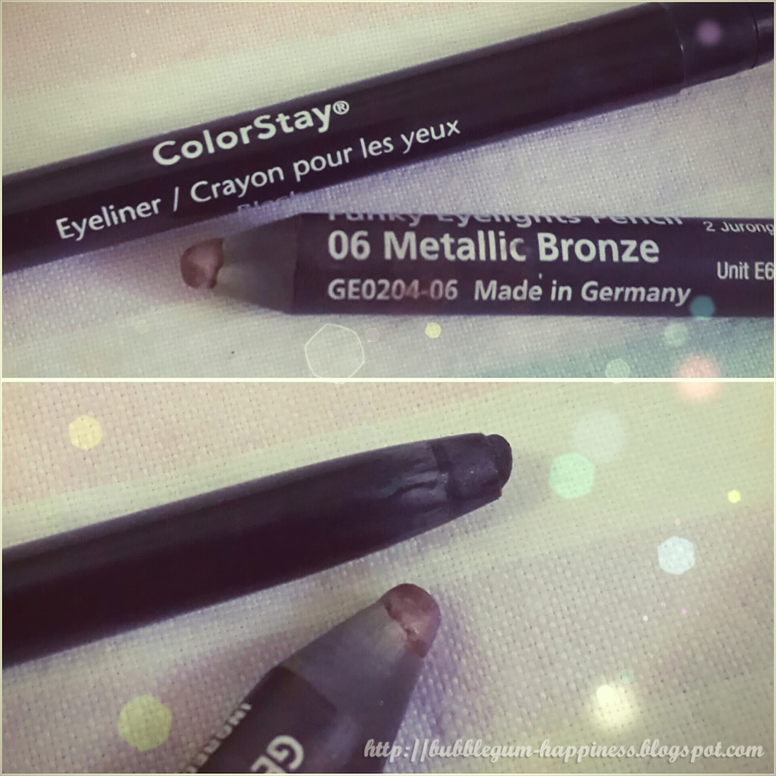 The Revlon colorstay is a twist up pen in color black that I use for my upper liner