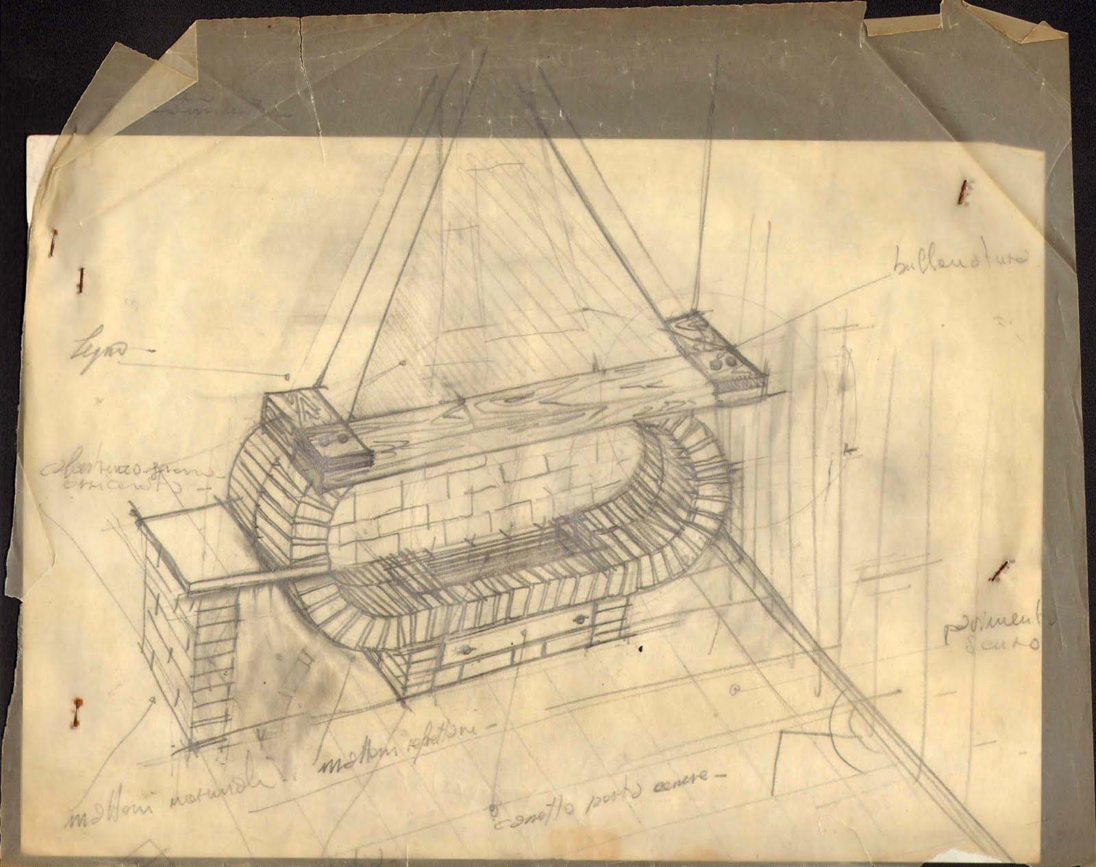 Il disegno ¨ stato realizzato quando io avevo solo dodici anni per un caminetto che poi fu realizzato e demolito successivamente per il suo cattivo