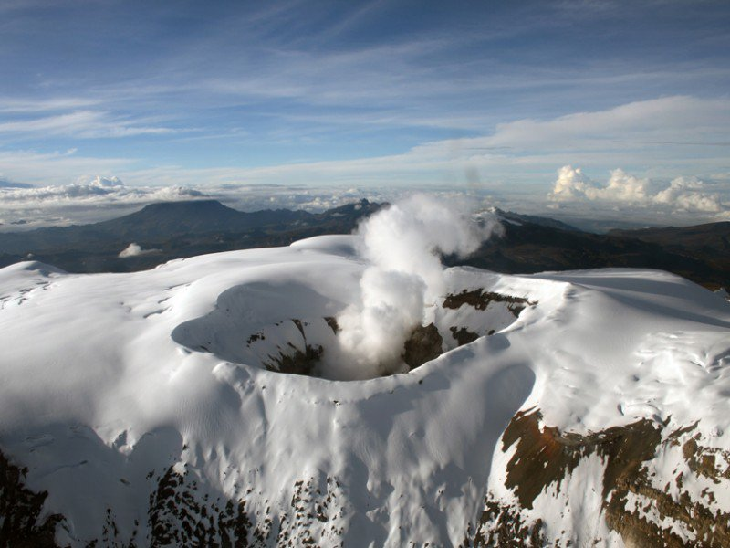 Colombian volcano the Nevado del Ruiz which killed 30,000 in 1985 wakes up spewing ash 2,300...