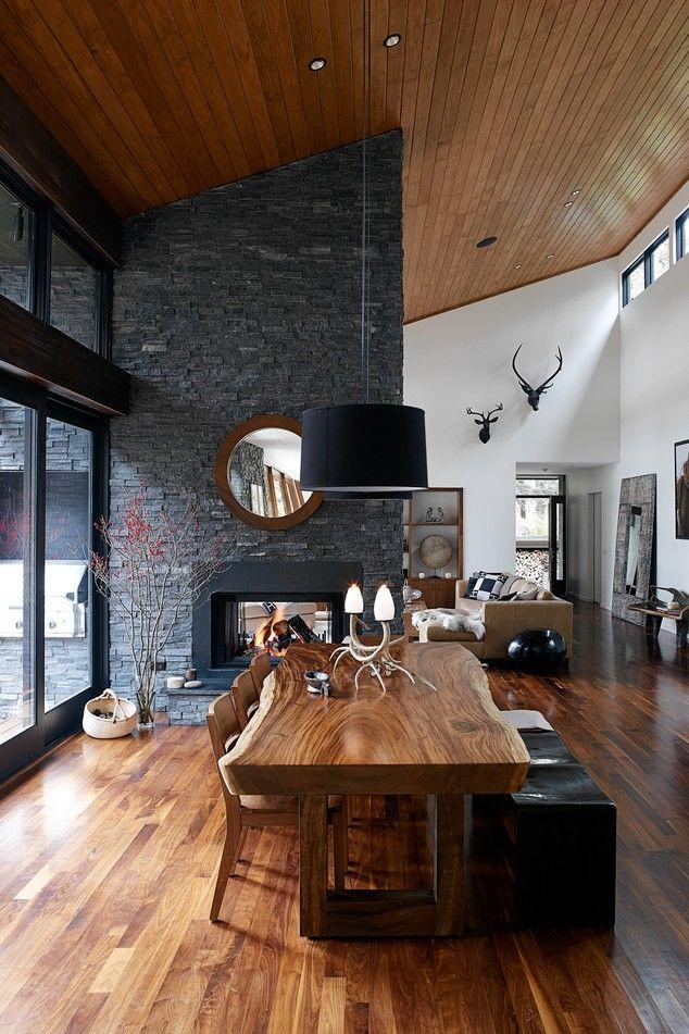 decoracao-sala-jantar-sala-estar-lareira-parede-xisto